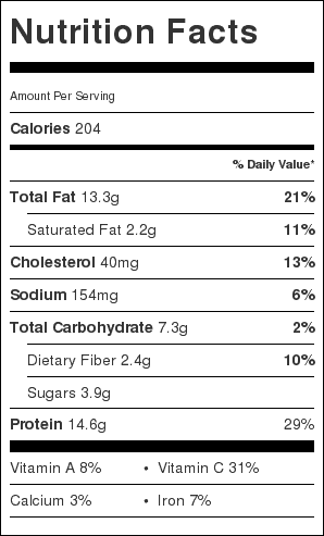 Chicken Karahi Nutrition Label