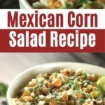 Mexican Corn Salad in White Bowl with Lime