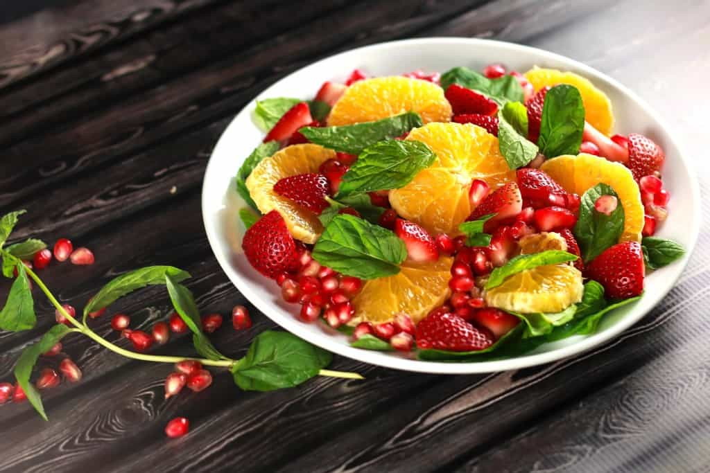 Healthy Orange Pomegranate Salad - This no-cook salad is not only beautiful to look at but delicious as well! It's the perfect summer salad and looks so instagram-able! Have it ready in under 10 mins!!   ScrambledChefs.com