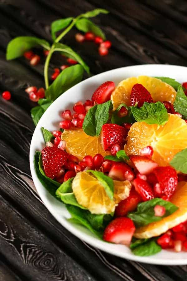Pomegranate Orange Salad with Strawberries