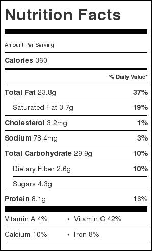 Pesto Zucchini Spaghetti Nutrition Label