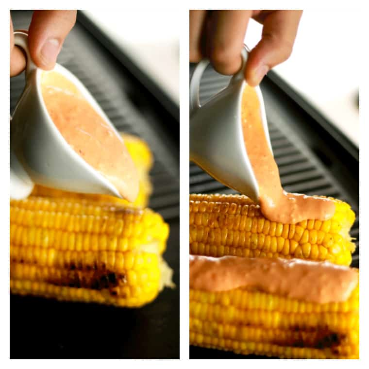 Grilled Sriracha Mayo Corn - This Grilled Sriracha Mayo corn is unlike anything you've ever had!! It's the perfect combination of spicy and cream with the crunch of the corn! We bet this will become your new favorite. | ScrambledChefs.com