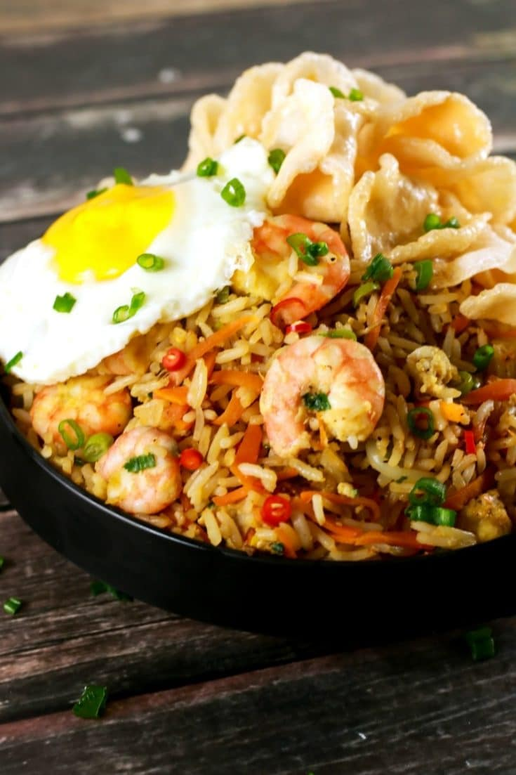 Spicy Indonesian Fried Rice Shrimp Nasi Goreng | ScrambledChefs.com