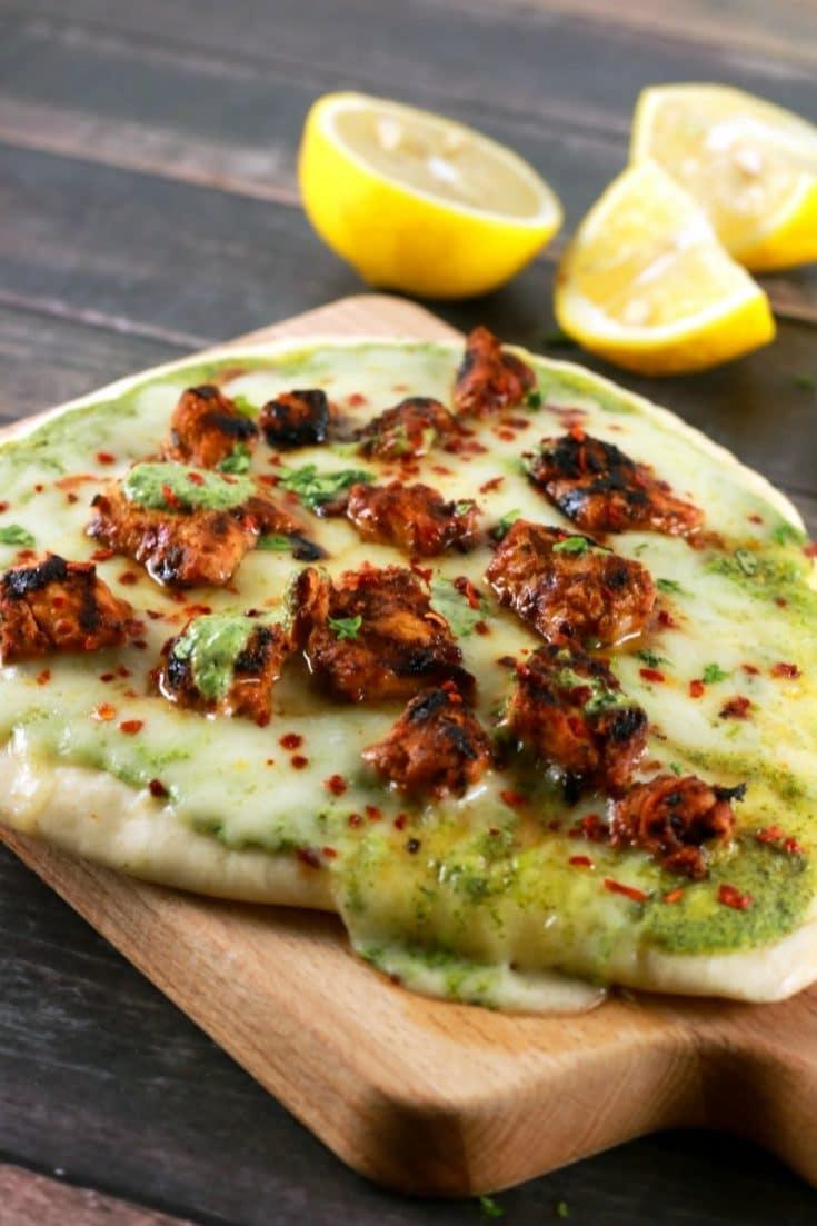 Stovetop Tandoori Tikka Naan Pizza