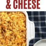 Baked macaroni and cheese in white casserole dish