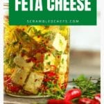 Marinated feta cheese in glass jar