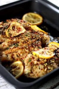 Baked Stuffed Chicken Breast with Lemon Garlic Spices