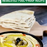 Easiest Classic Hummus - This delicious hummus is extremely easy to make and the recipe is absolutely fool proof! You don't need many ingredients for it but it tastes A-A-AMAZING and is healthy too! | ScrambledChefs.com