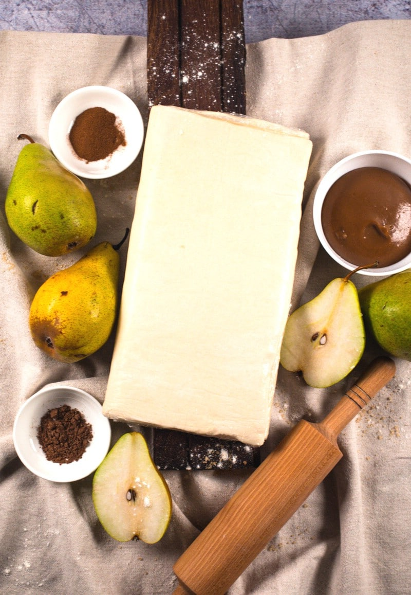 Ingredients for making pear turnovers recipe