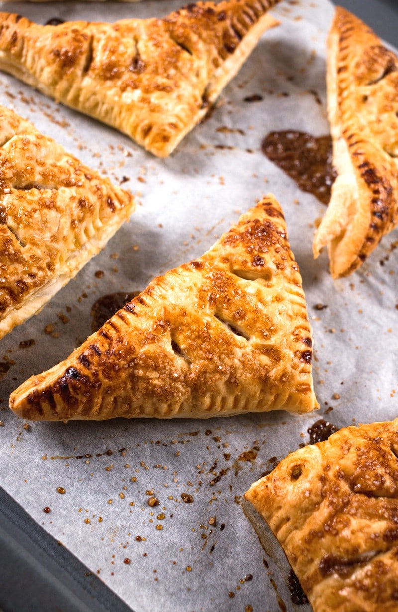 Up close picture of baked pear turnovers