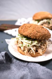 Up close pulled chicken sandwiches