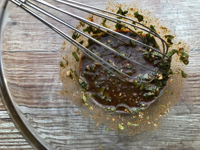 Glass bowl filled with marinade