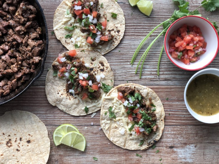 Steak street tacos with pico de gallo