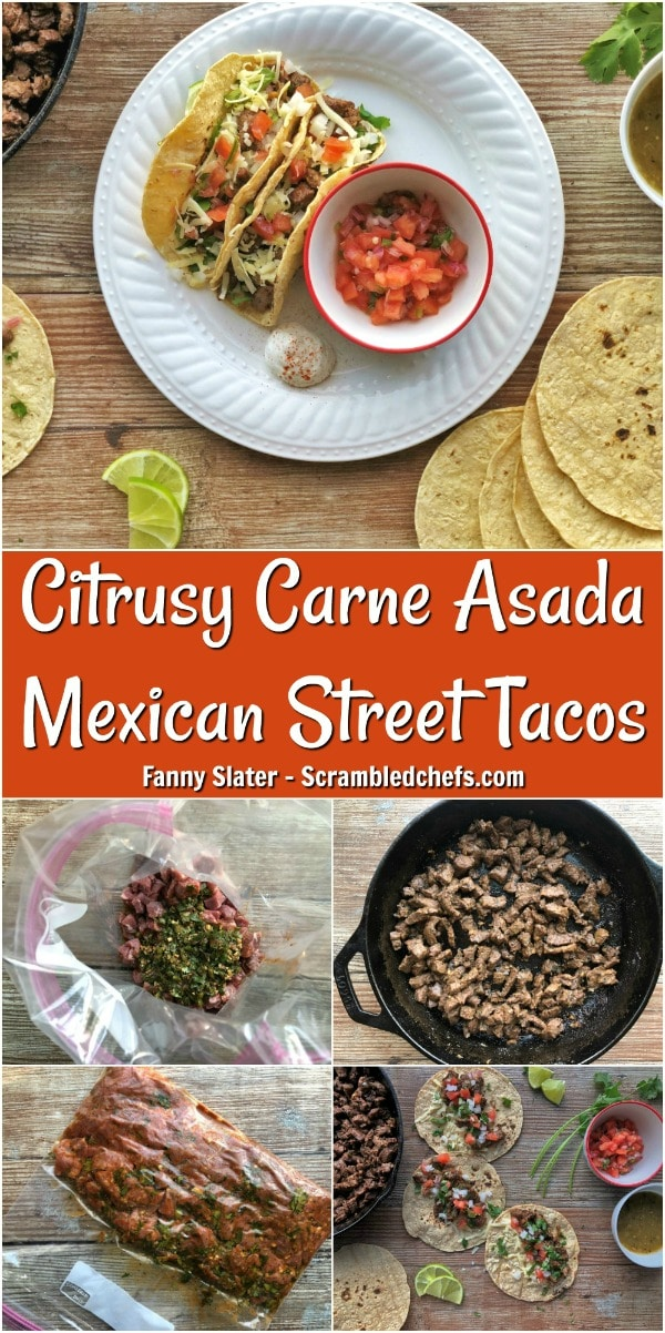 If you're on the hunt for a heavenly handheld, look no further than these Carne Asada street tacos. In this irresistible recipe, tender steak is marinated in an aromatic blend of salty soy, sharp garlic, and citrus, griddled to perfection, and topped with crunchy onions and fresh cilantro. Read on for the recipe. #streettacos #carneasada #scrambledchefs