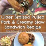 Collage of braised pulled pork sandwich