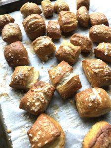 Baked pretzel bites on baking sheet