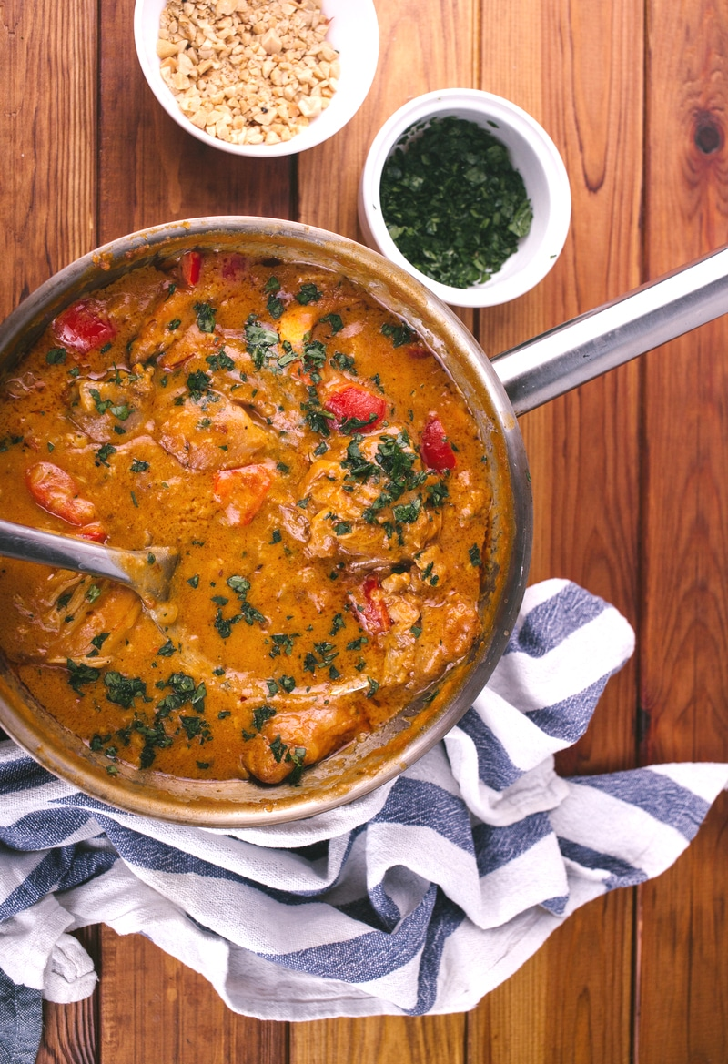 Peanut curry in skillet