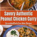 Peanut chicken curry collage photo.