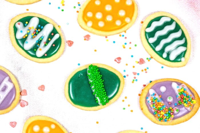 Easter egg cookies on white table