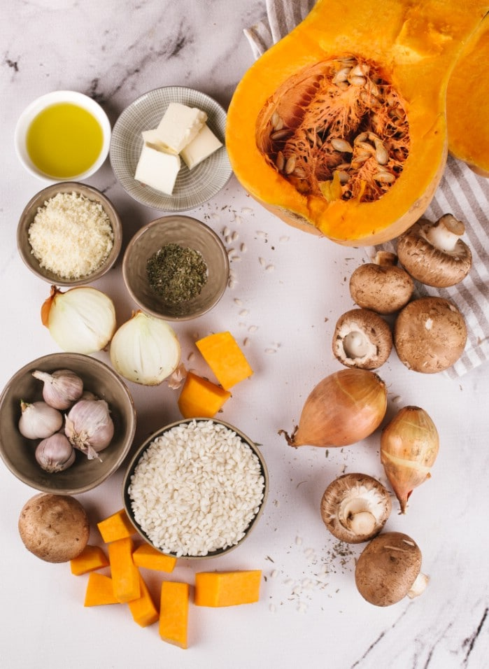 Pumpkin risotto ingredients