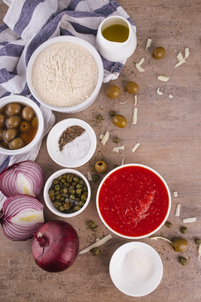 Ingredients for sicilian style pizza