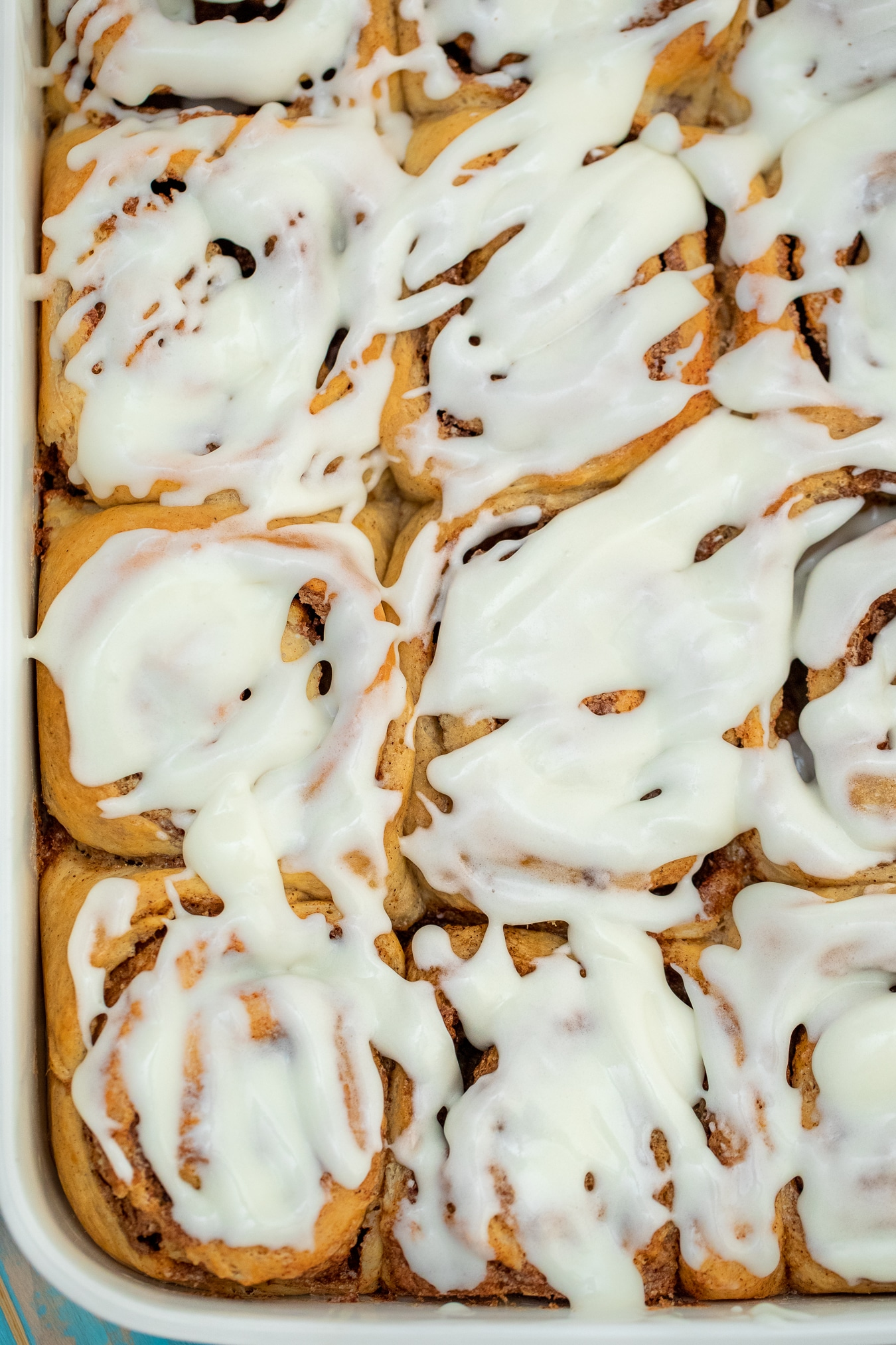 Baking dish of cinnamon rolls