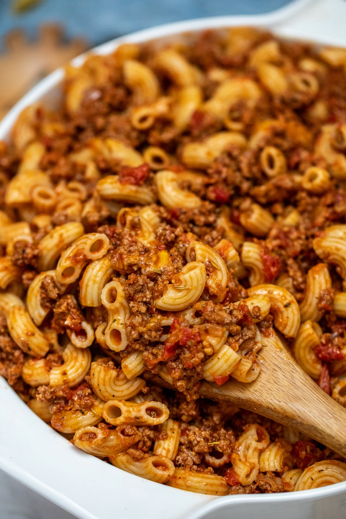 Goulash on wooden spoon