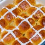 Hot cross buns in baking dish