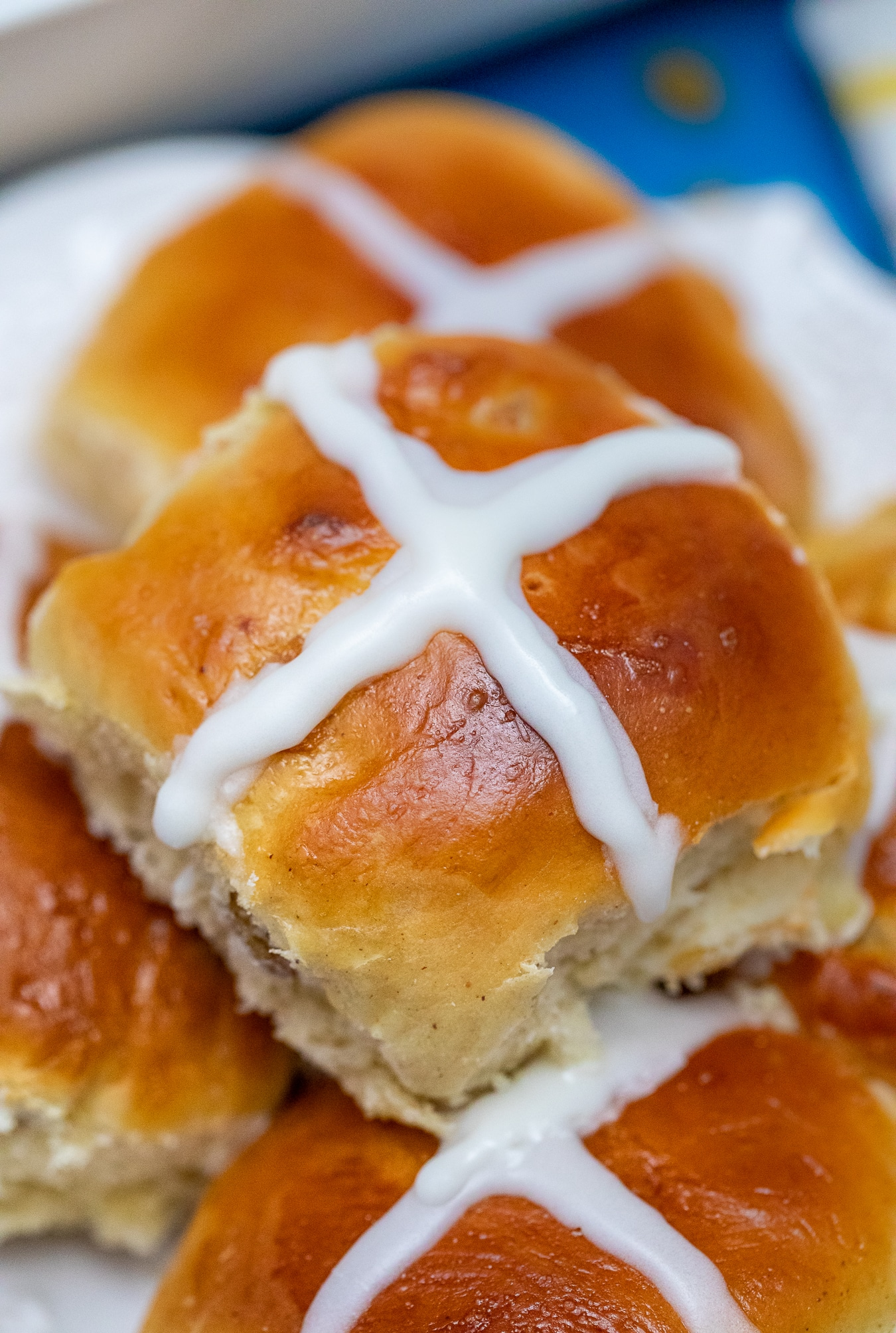 Stack of hot cross buns