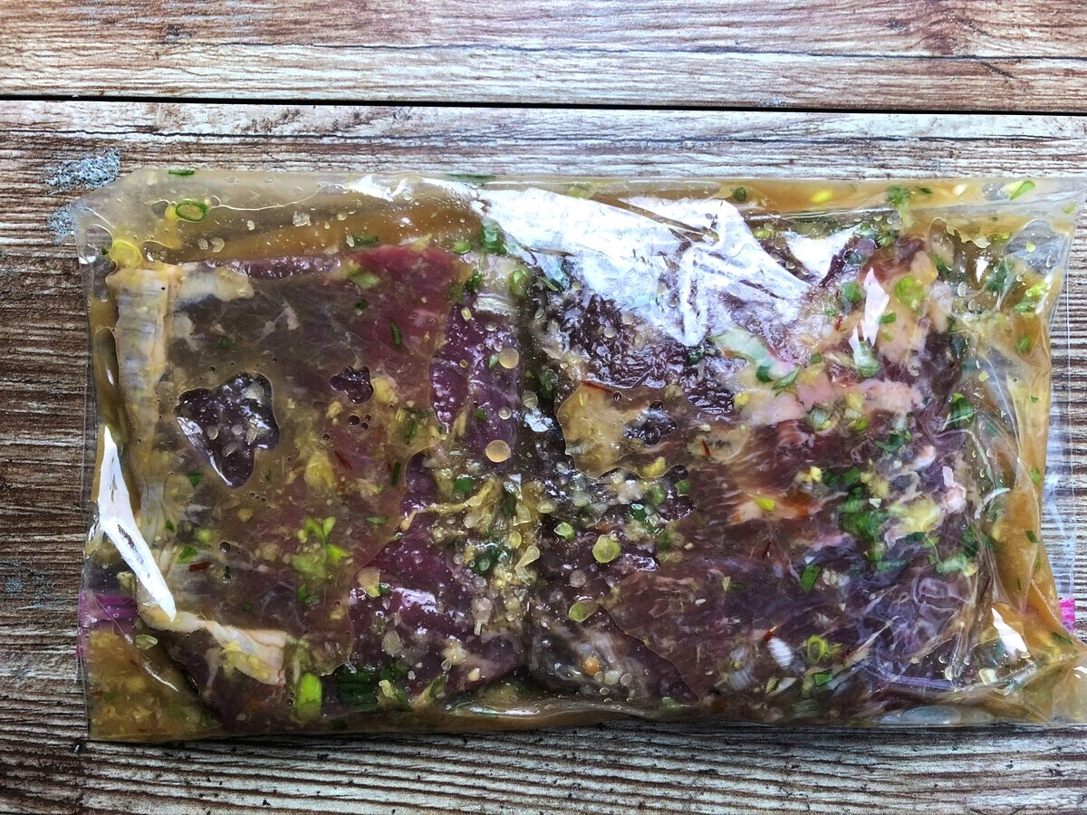Steak in a bag of marinade