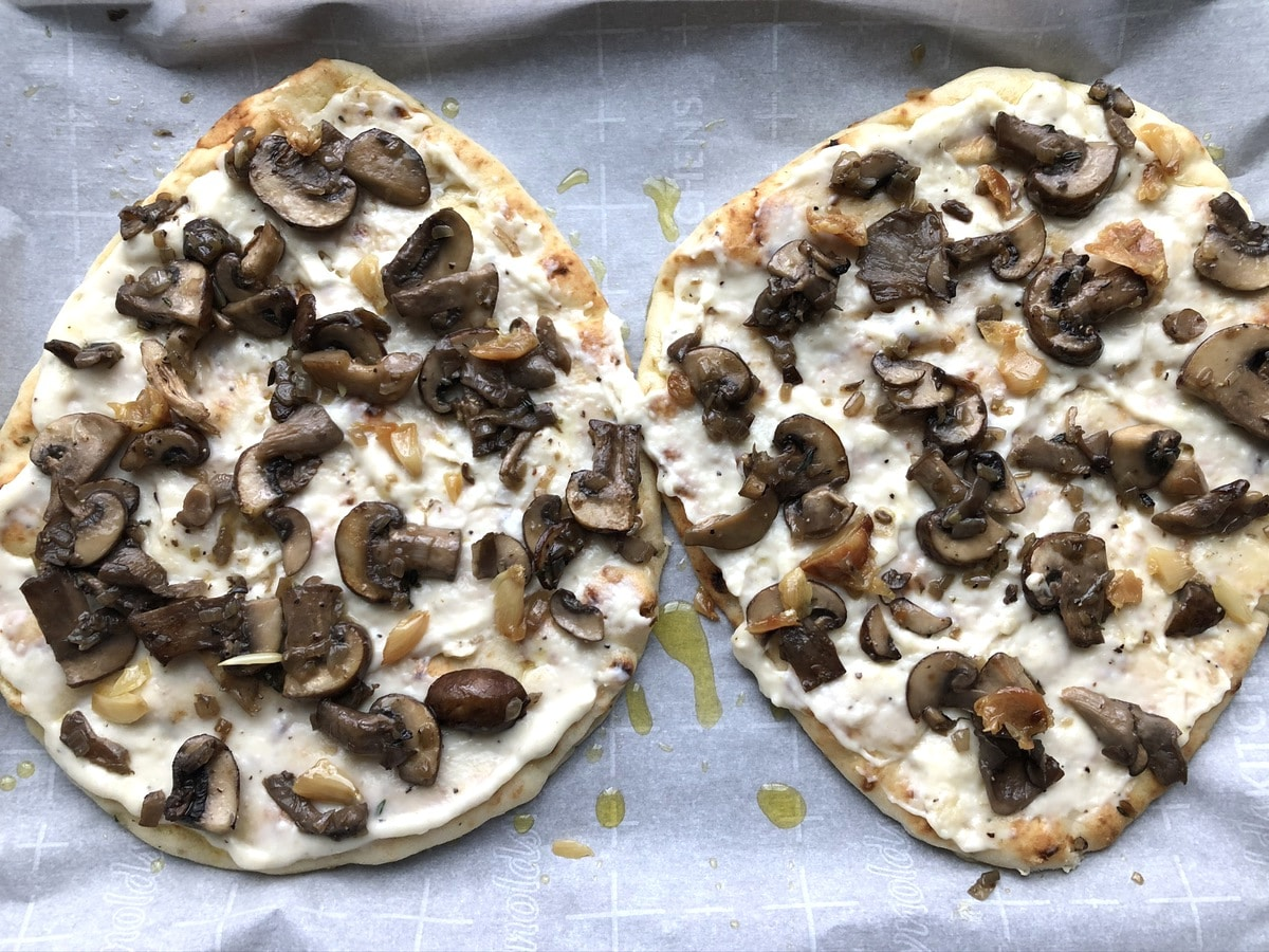 Flatbreads topped with mushrooms