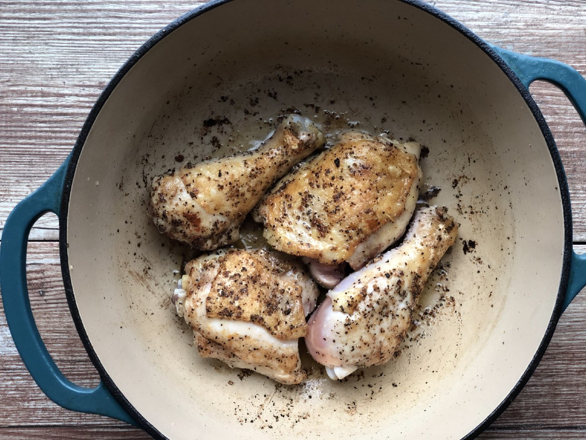 Searing chicken in dutch oven