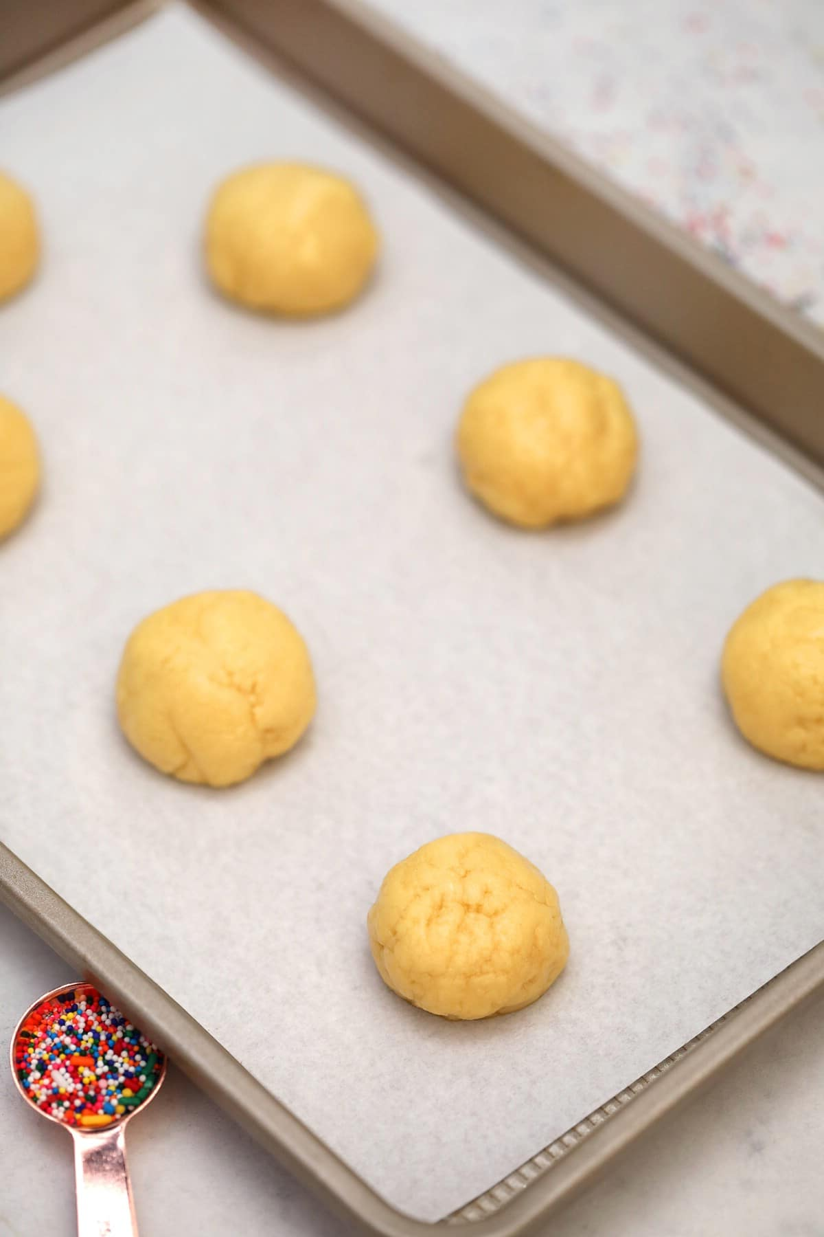Cookie dough on baking sheet