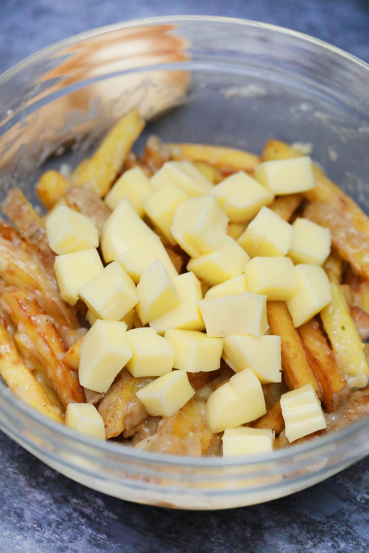 Fries gravy and cheese in large bowl