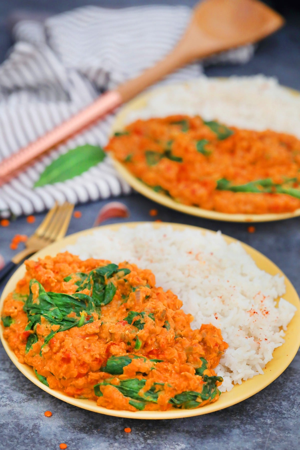 Two plates of red lentil curry and rice