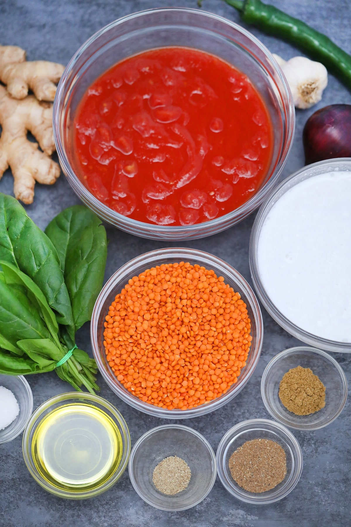 Ingredients for lentil curry
