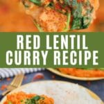 Red lentil curry collage