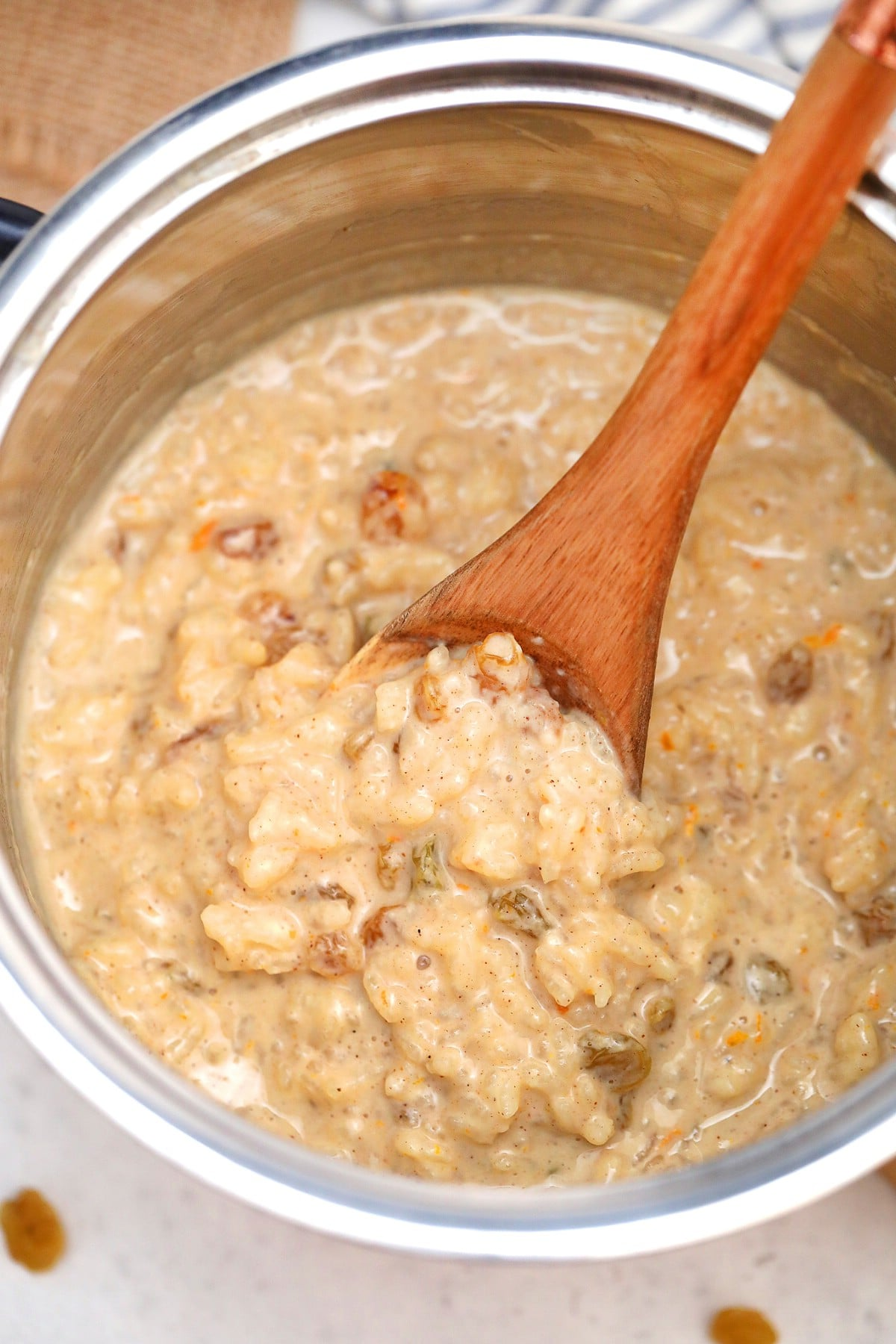 Rice pudding in stockpot