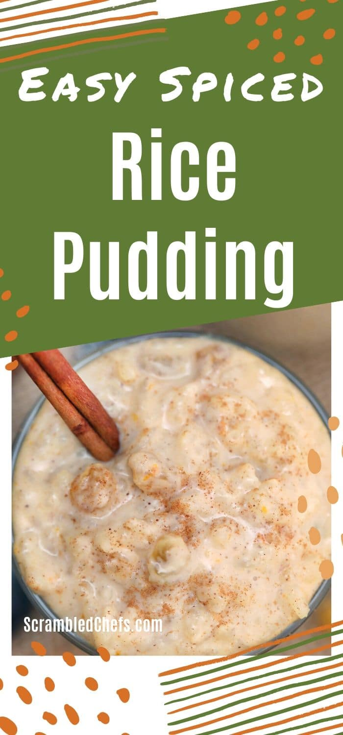 Rice pudding in glass with cinnamon stick
