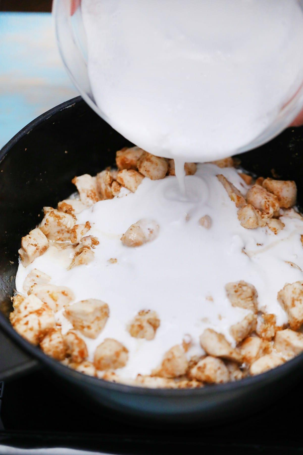 Adding milk to chicken