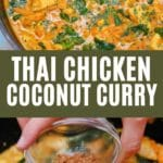 Thai chicken coconut curry collage