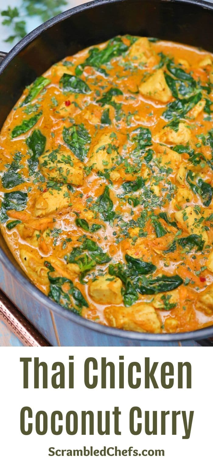Skillet of thai coconut chicken curry