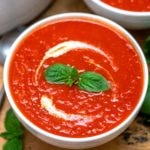 White bowl with tomato soup
