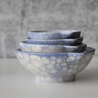 Blue Measuring bowls, Kitchen Hostess Gifts, Nesting Prep Bowls