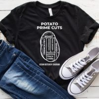 Potato Prime Cuts Vegan Butchery Diagram T-Shirt