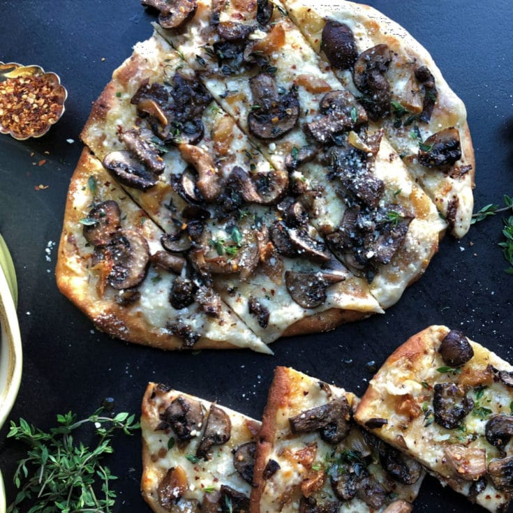 Roasted Garlic and Wild Mushroom Naan Flatbreads