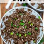Korean ground beef with rice collage