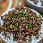 Bowls of korean ground beef with rice