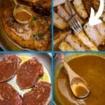 Skillet pork chop collage
