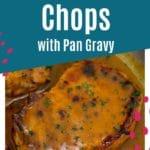 Pork chop in gravy in skillet